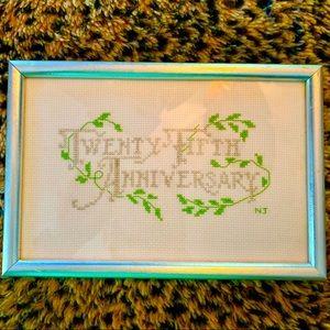 💕3/$25‼️💕Cross Stitched 25th Anniversary Decor